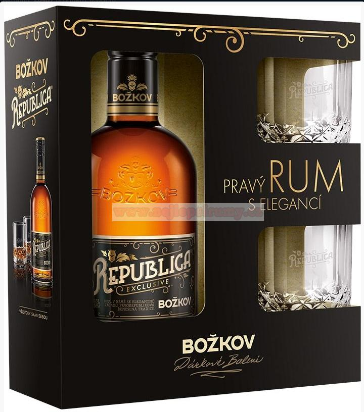 Božkov Republica exclusive 38% 0,5l + sklo